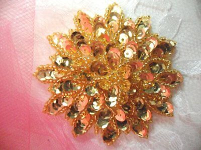 """Red Sequin Applique Floral Beaded Iron on Patch Sewing Crafts DIY 3/"""" XR364"""