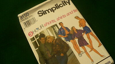 Simplicity 3 hour shorts shirts tie sewing pattern #8150 Size XS-MD