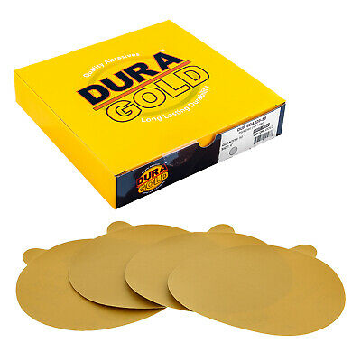 "320 Grit 6"" Gold PSA Self Adhesive Sanding Discs for DA Sanders - Box of 50"
