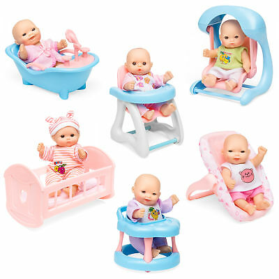 BCP Set of 6 Kids 5in Hand-Sized Baby Doll Toys w/ 6 Lounging Accessories