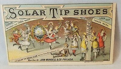 Late 1800's Trade Card Solar Tip Shoes By John Mundell Solar Tip Club NO Reserve