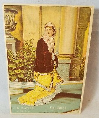 Late 1800's Trade Card J.N. Cloyes Utica Fine Shoes Newberry Park NO Reserve