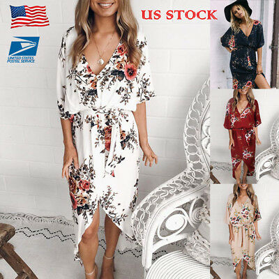 US Womens Floral V Neck Wrap Strappy Dress Lace Up Holiday Summer Loose Sundress