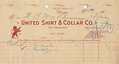 1903 Invoice From United Shirt & Collar Co. of Troy, New York  Chicago Office