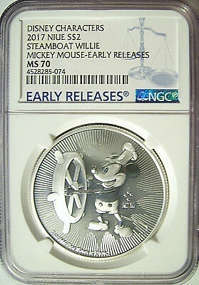 2017 Niue $2 Disney Mickey Mouse Steamboat Willie Silver 1 Oz.  NGC MS 70 ER
