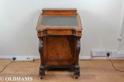Lovely Antique Victorian Burr Walnut Davenport Writing Desk with Carving