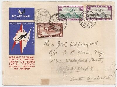 1934 Egypt To Australia First Flight Cover, Rarity, Few Covers Known !