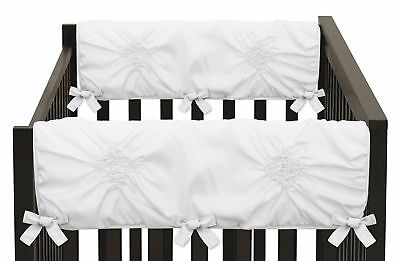 Set of 2 Solid Color White Harper Shabby Chic Baby Side Crib Rail Guards Wraps