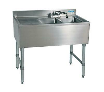 """BK Resources (2) Compartment 36"""" Wide Underbar Sink with Left Drainboard"""