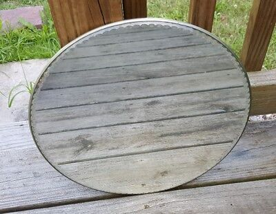 Antique Round Beveled Dresser Mirror 14 Inch With Tin Pinwheel Back