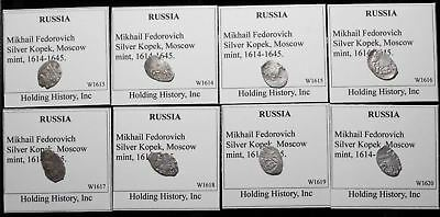Lot of 8 Silver Hammered Kopek Wire Money, Mikhail Fedorovich, 1614-1645