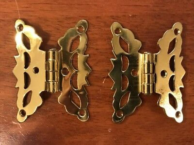 """Antique Victorian Style Pair of 3/8"""" Offset Butterfly Hinges"""