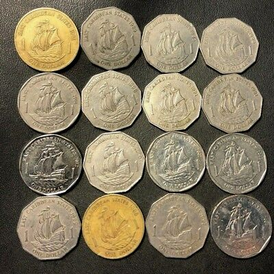 Old Eastern Caribbean States Coin Lot - 16 Uncommon DOLLAR Coins - Lot #622
