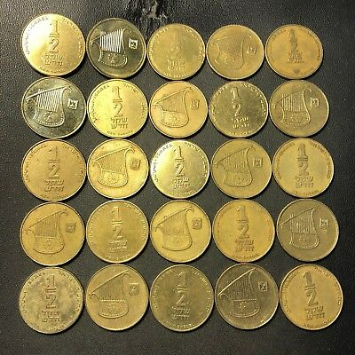 Vintage Israel Coin Lot - 25 Uncommon 1/2 Shekel Coins - Excellent - Lot #622