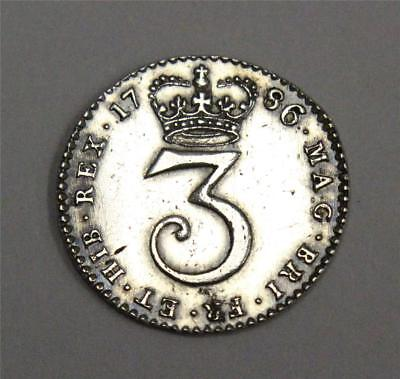 1786 three pence silver 3d Great Britain AU details cleaned long ago