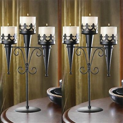 """NEW Set of 2 Medieval Gothic Black Iron Candelabras / Candle Stands, 15.8"""" Tall"""