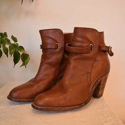 Vtg 70s whiskey leather FRYE stacked wooden heel WESTERN ankle buckle boots 8.5