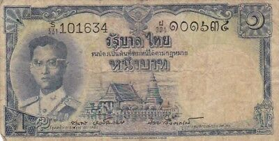 1955 Thailand 1 Baht Note, Pick 74d..