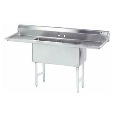 """Advance Tabco 2 Comp. Sink 18""""x24""""x14"""" Bowls 18"""" Left & Right Drainboard"""