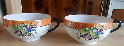 Two Vintage Asian Design Fine Porcelain China Cups