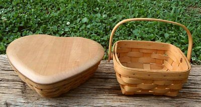 Longaberger Baskets SWEETEST HEART BASKET with Lid and Square BERRY BASKET NR