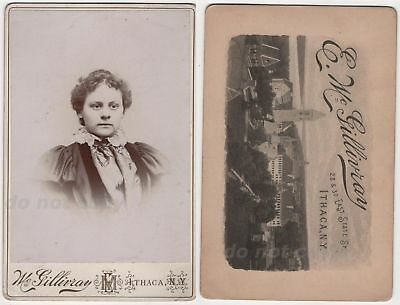 Woman Cornell University Pictorial Backstamp Ithaca NY Antique Cabinet Photo