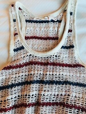 8939785d7e ISABEL MARANT ETOILE Crochet Knit Open Weave Striped Clay Dress Sz ...
