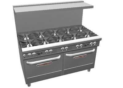 "Southbend 4603AA Ultimate 60"" 10 Star Burner Range w/ 2 Convection Ovens"