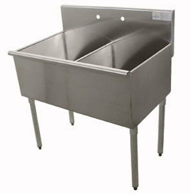 """Advance Tabco 2 Compartment Scullery Sink 18"""" x 21"""" Bowls 430 Series S/s"""