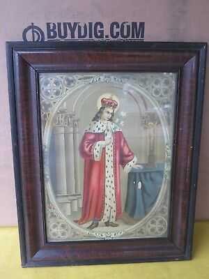 Vtg Wood Picture Frame With Religious Print 16 X 21 999 Picclick