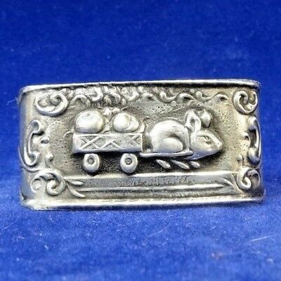 Antique 833 Sterling Solid Silver Bunny Rabbit Napkin Ring Portugal