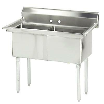 """Advance Tabco 2 Compartment Sink 16 Gauge 24"""" x 24"""" x 14"""" Bowls Stainless"""