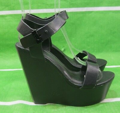 """new Black 5.5/""""High Wedge Heel 2/""""Platform Open Toe Strappy Shoes Size 6"""