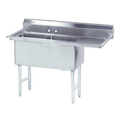"""Advance Tabco 2 Compartment Sink 24""""x24""""x14"""" Bowls 24"""" Right Drainboard"""