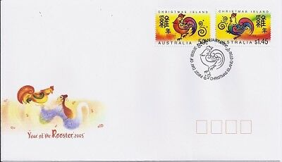 2005 Christmas Islandd - Year of the Rooster First Day Cover FDI