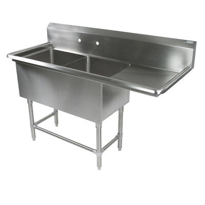 """John Boos 2PB18244-1D24R 2 Compartment 18"""" x 24"""" Stainless Steel Pro-Bowl Sink"""