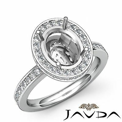 0.82Ct Natural Oval Diamond Engagement Halo Pave Ring Semi Mount 14k White Gold