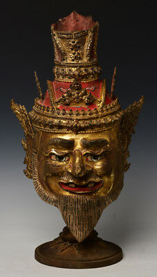 20th Century, Antique Thai Wooden Head of An Old Man with Gilded Gold and Glass