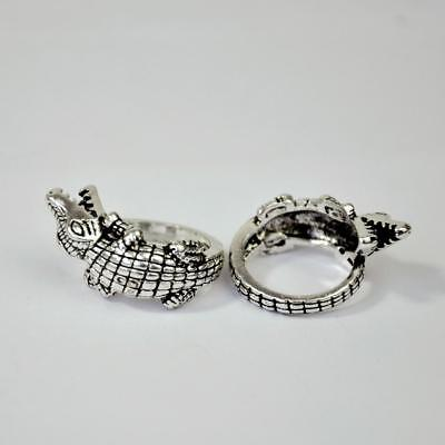 50Pcs Crocodile Alloy Ancient Silver Plated Rings Wholesale hotsale Jewelry BFP