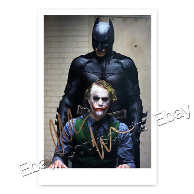 Christian Bale als Batman - Dark Knight und Joker Heath Ledger - Autogrammfoto