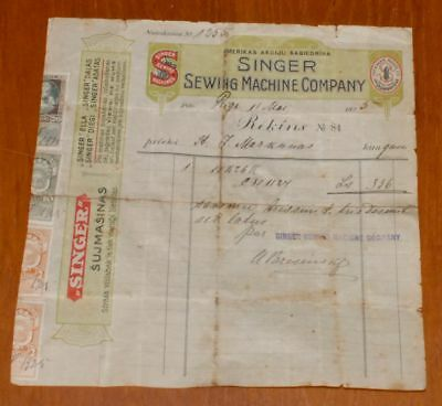 LATVIA 1925 AMERICAN SEWING MACHINES SINGER ZINGER COMPANY PAID BILL w.REVENUES