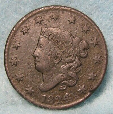 1824 Coronet Head Large Cent VF- Details * US Coin *