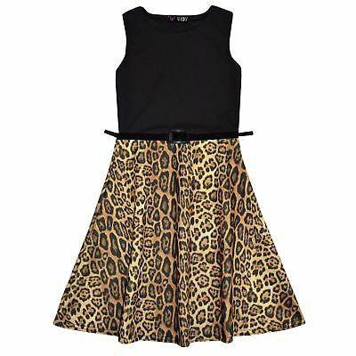 Girls Skater Dress Kids Leopard Contrast Panel Summer Party Dresses New Age 7-13