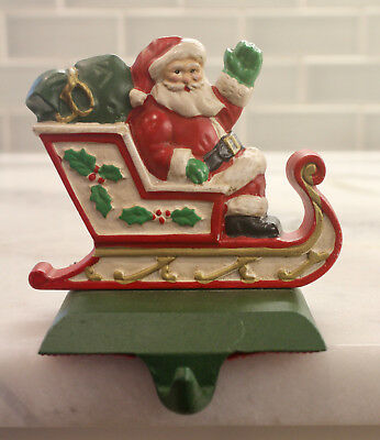 Midwest Importers Cannon Falls cast iron Santa in Sleigh stocking hanger holder