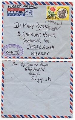 1967 MALAYSIA Forces Mail Cover TANAH RATA to CROWBOROUGH GB Cameron Highlands