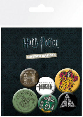 Button Badge 6er Pack HARRY POTTER - Logos & Wappen 2x32mm & 4x25mm NEU BP0663