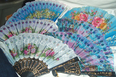 Lot 6 New Flower Hand Held Fabric Folding Fans US SELLER Partys Wedding Church g