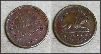 1863 Civil War Token Hussey's Special Message Post Time is Money NY - BINo