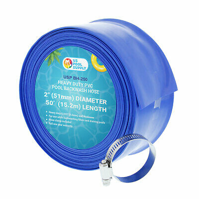 """2"""" x 50' Heavy Duty Blue PVC Swimming Pool Backwash Hose & Clamp Water Discharge"""
