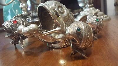 185g EXQUISITE STERLING SILVER SET OF 4 FAMILY FISH SHAKERS AND a fish cocktel